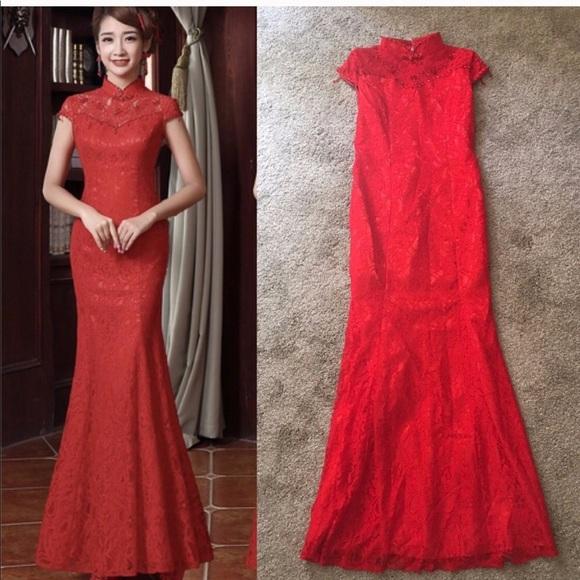 Dresses & Skirts | Chinese Red Wedding Dress | Poshmark
